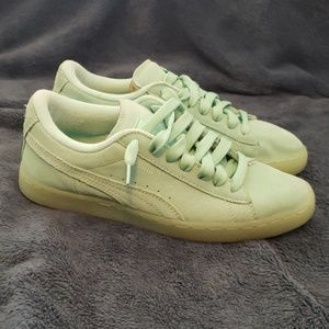 Women's Classic Teal Suede Puma Sneakers